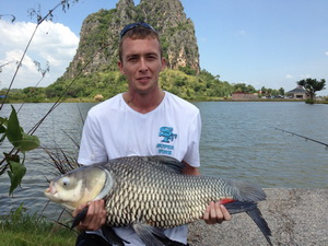 Fishing for carp in Thailand