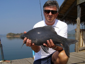 Black carp (shark) jungle fishing in Thailand