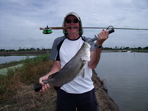 fly fishing Thailand for barramundi at Boon Mar Ponds