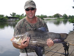 Siamese giant carp fishing Shadow Lake Bangkok