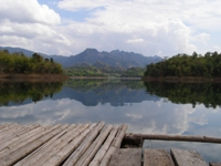 View of our carp fishing Thailand  swim from the carp raft