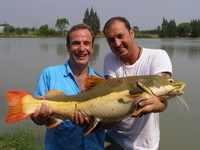 Eddy Mounce & Robson Green redtail catfish fishing in Thailand