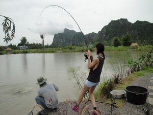 fishing in Thailand at Jurassic fishing park