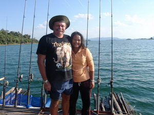 Tim Webb and his wife Benny fishing in Thailand