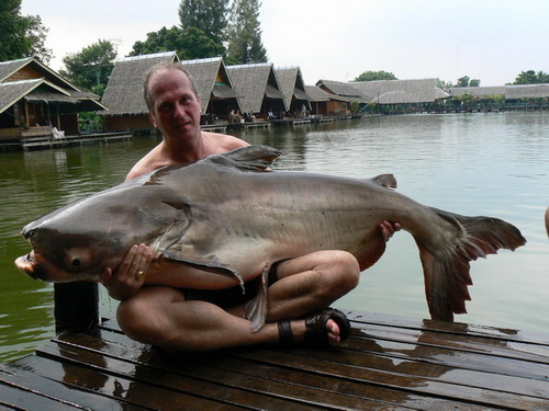 140lb Mekong Catfish caught fishing Bungsamran Lake in Bangkok guided by Fish Thailand