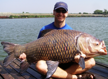 120lb Siamese Carp caught fishing in Thailand guided by The Fish Thailand Team