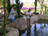 Robson Green filming Extreme Fishing at the fish spa - rock valley hot springs