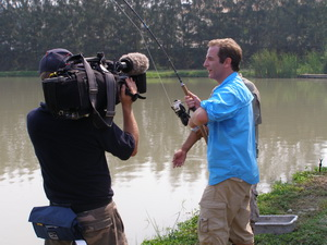Robson Green guided by Fish Thailand filming Extreme Fishing Thailand