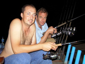 Eddie Mounce & Robson Green night fishing together in Kanchanaburi filming extreme fishing Thailand