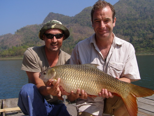 Robson Green & Eddy Mounce jungle carp fishing for  Extreme Fishing TV Show